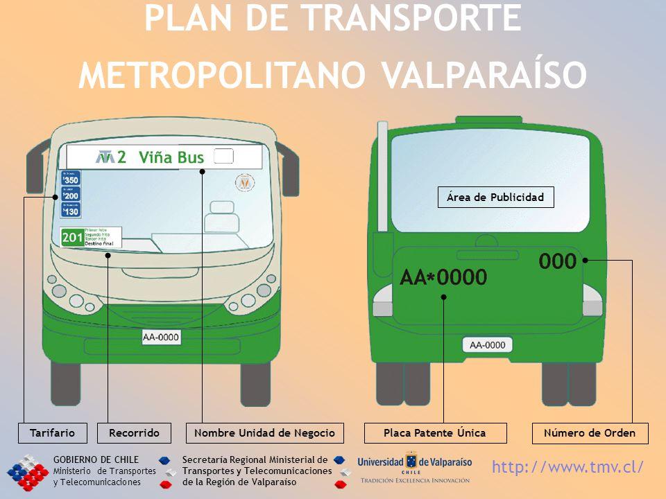 PLAN DE TRANSPORTE METROPOLITANO VALPARAÍSO GOBIERNO DE CHILE Ministerio de Transportes y Telecomunicaciones Secretaría Regional Ministerial de Transp