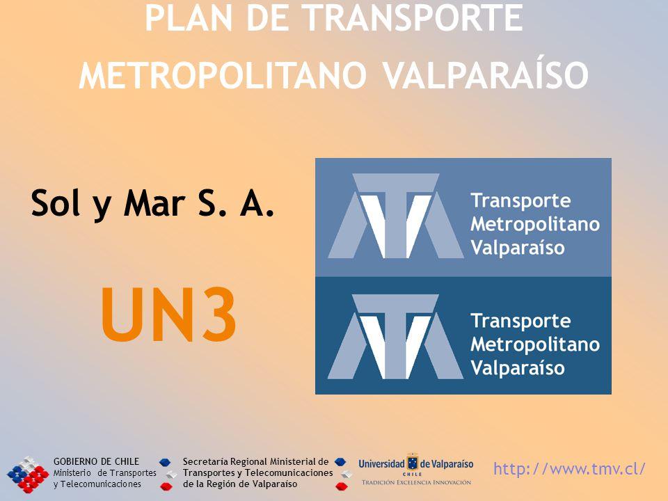 Sol y Mar S. A. UN3 PLAN DE TRANSPORTE METROPOLITANO VALPARAÍSO GOBIERNO DE CHILE Ministerio de Transportes y Telecomunicaciones Secretaría Regional M