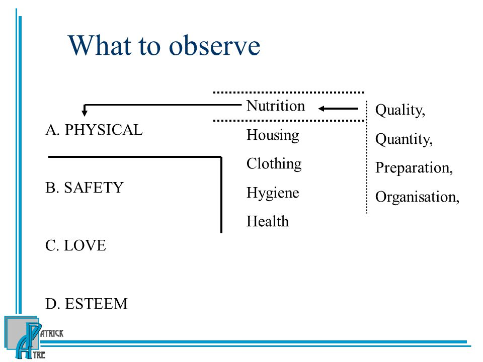 What to observe A.PHYSICAL B. SAFETY C. LOVE D.