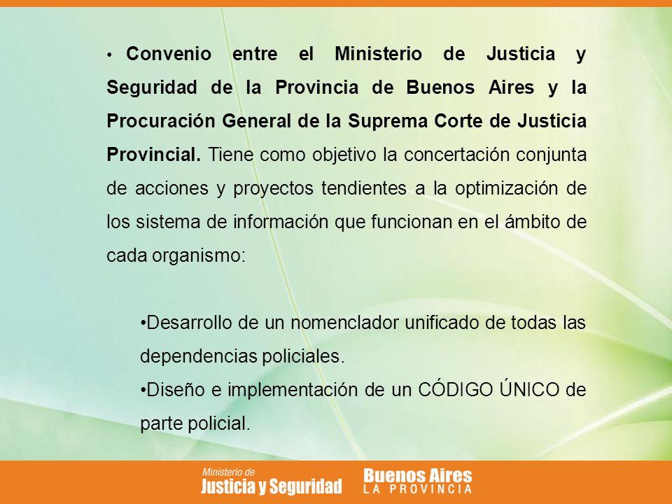 Convenio entre el Ministerio de Justicia y Seguridad de la Provincia de Buenos Aires y la Procuración General de la Suprema Corte de Justicia Provincial.