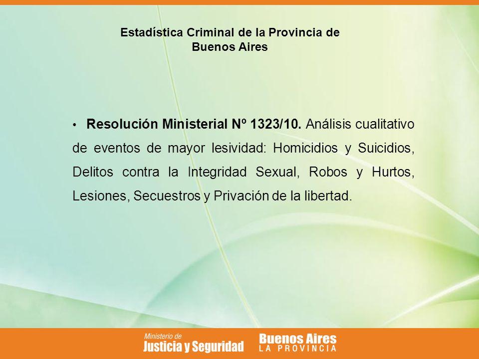 Estadística Criminal de la Provincia de Buenos Aires Resolución Ministerial Nº 1323/10.