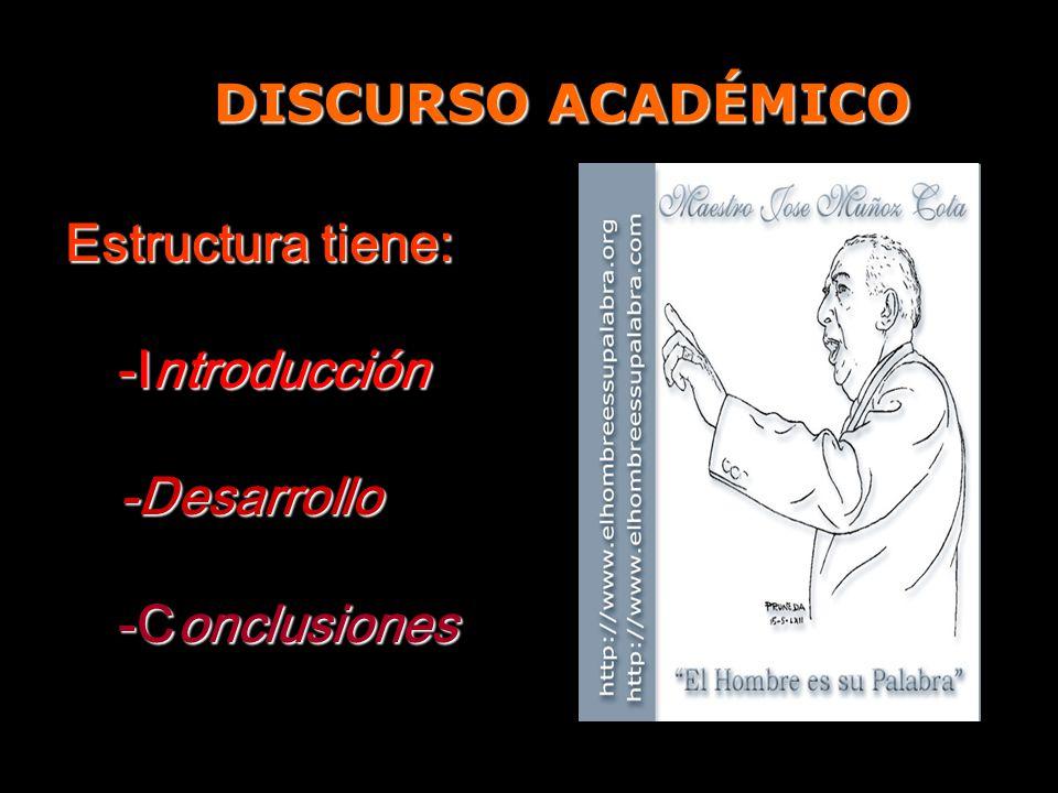 DISCURSO ACADÉMICO Estructura tiene: -Introducción -Desarrollo -Conclusiones