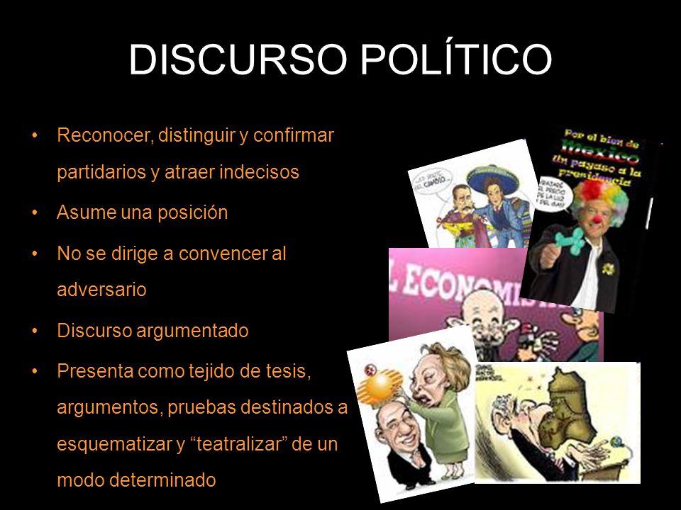 DISCURSO POLÍTICO Reconocer, distinguir y confirmar partidarios y atraer indecisos Asume una posición No se dirige a convencer al adversario Discurso