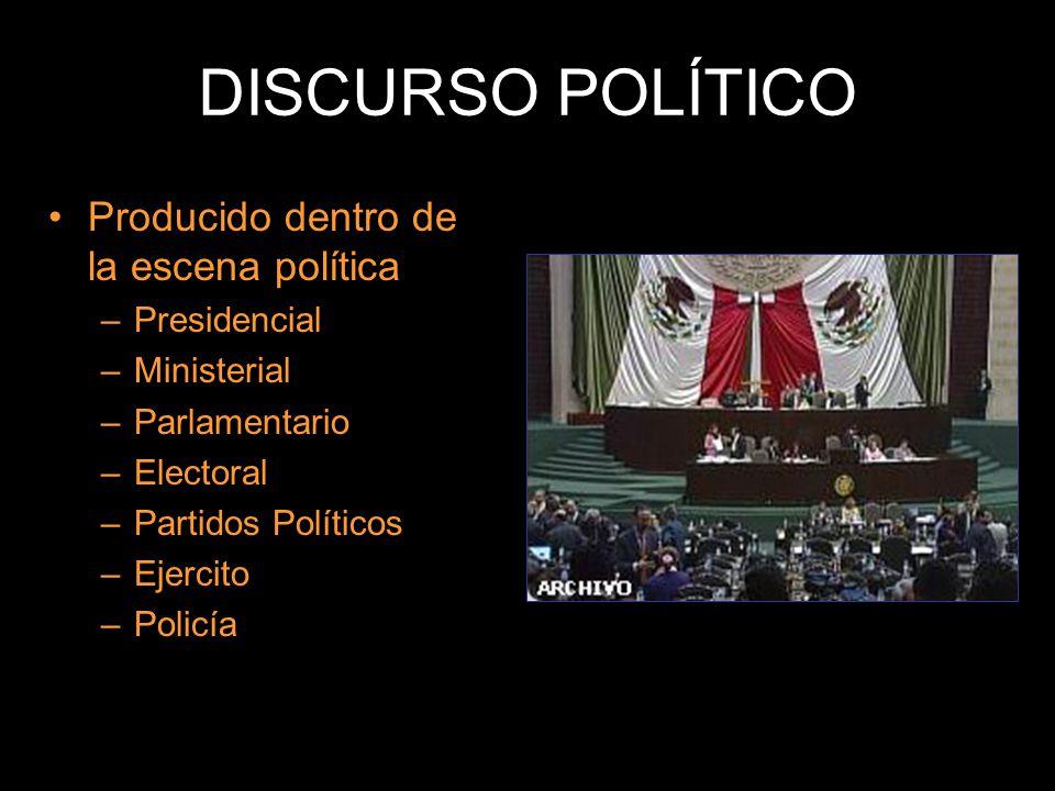 Producido dentro de la escena política –Presidencial –Ministerial –Parlamentario –Electoral –Partidos Políticos –Ejercito –Policía DISCURSO POLÍTICO