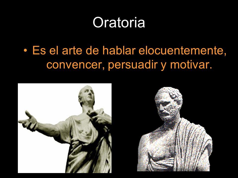 Oratoria Es el arte de hablar elocuentemente, convencer, persuadir y motivar.