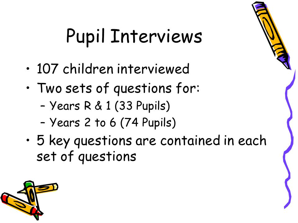 Pupil Interviews 107 children interviewed Two sets of questions for: –Years R & 1 (33 Pupils) –Years 2 to 6 (74 Pupils) 5 key questions are contained in each set of questions