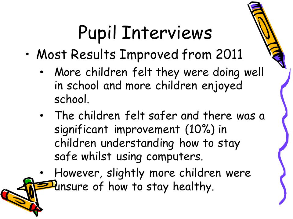 Most Results Improved from 2011 More children felt they were doing well in school and more children enjoyed school. The children felt safer and there