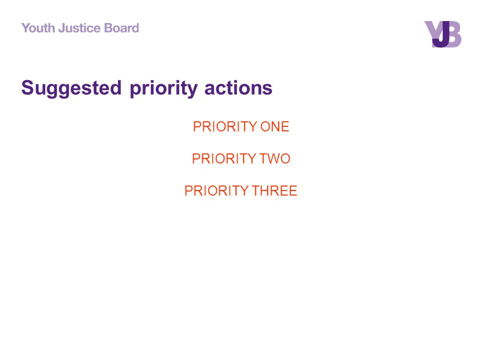 Suggested priority actions PRIORITY ONE PRIORITY TWO PRIORITY THREE