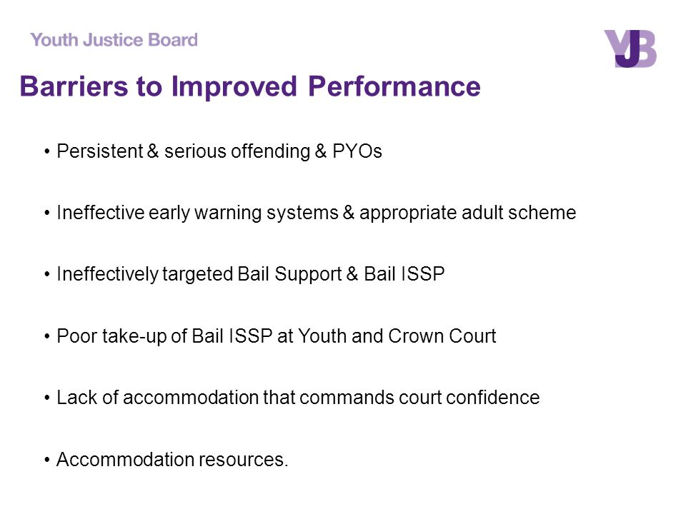 Barriers to Improved Performance Persistent & serious offending & PYOs Ineffective early warning systems & appropriate adult scheme Ineffectively targeted Bail Support & Bail ISSP Poor take-up of Bail ISSP at Youth and Crown Court Lack of accommodation that commands court confidence Accommodation resources.