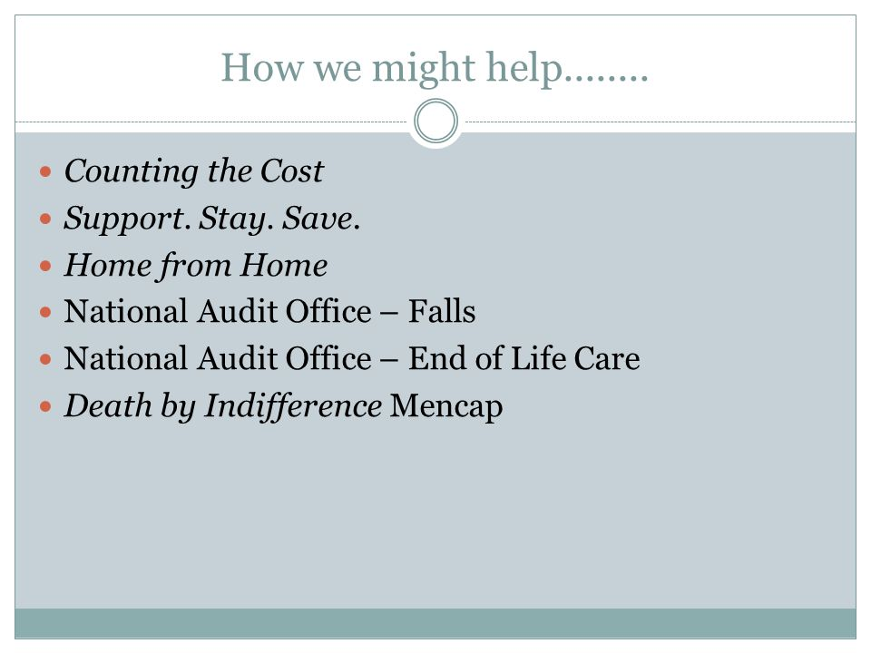 How we might help........ Counting the Cost Support.