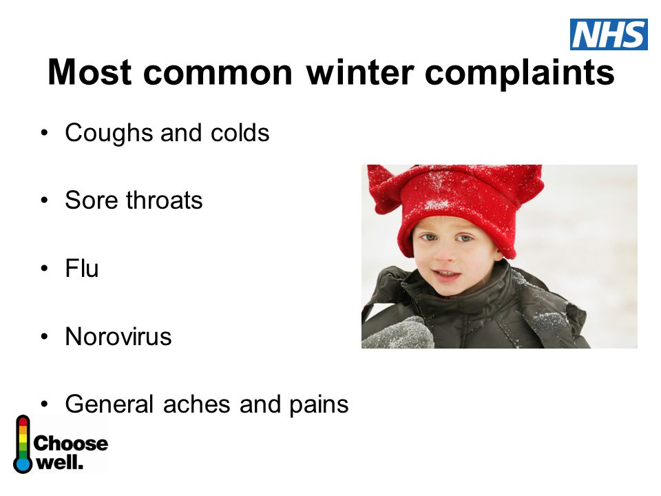 Most common winter complaints Coughs and colds Sore throats Flu Norovirus General aches and pains
