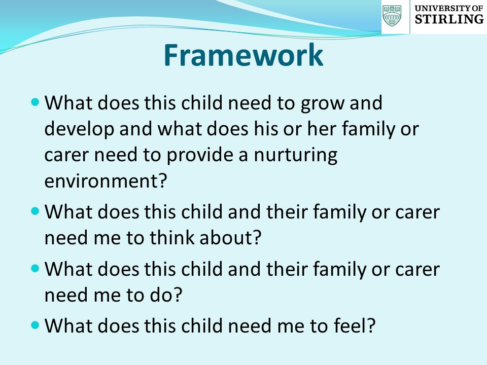 Framework What does this child need to grow and develop and what does his or her family or carer need to provide a nurturing environment? What does th