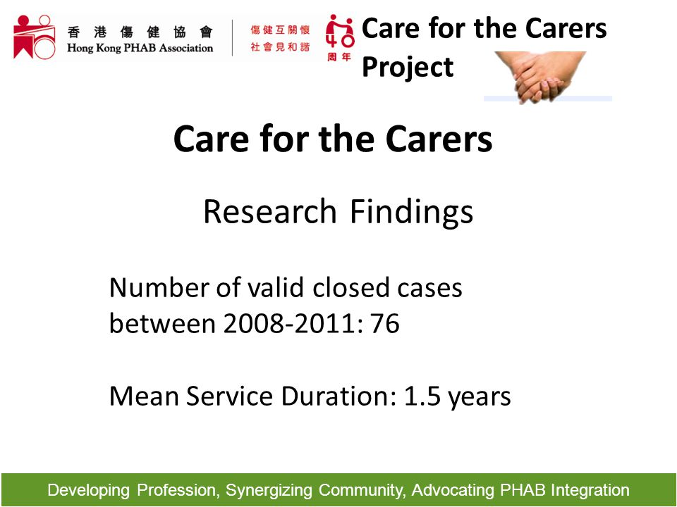 Developing Profession, Synergizing Community, Advocating PHAB Integration Care for the Carers Research Findings Number of valid closed cases between 2