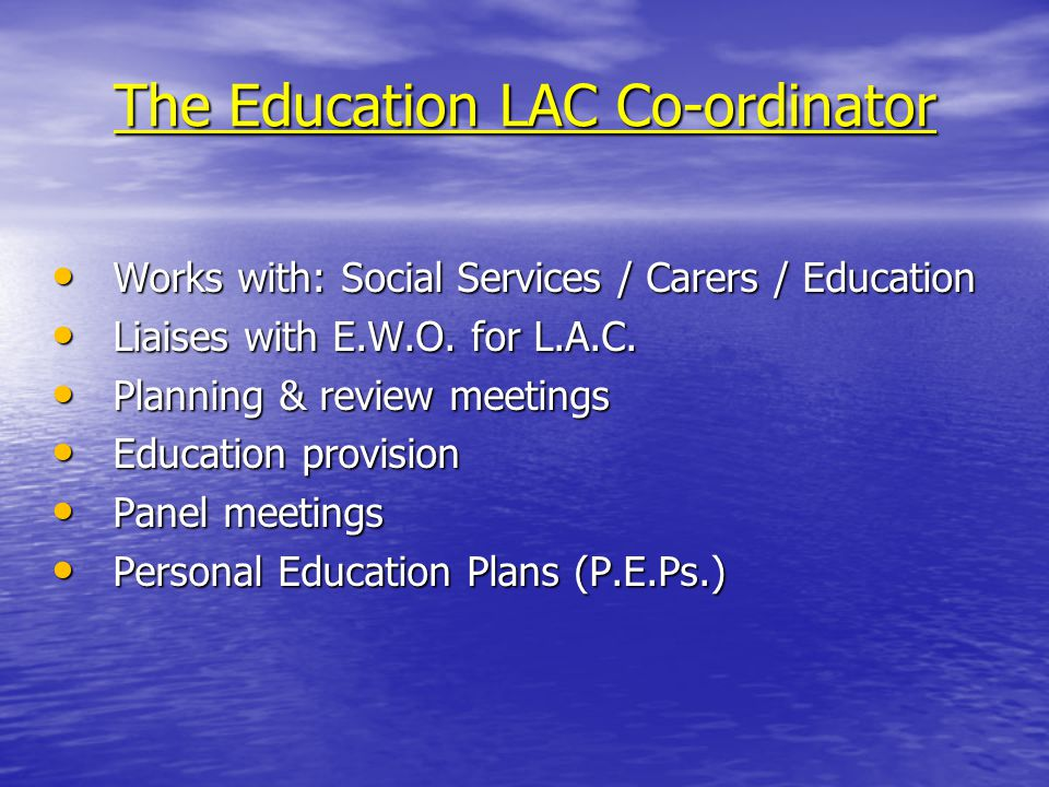The Education LAC Co-ordinator Works with: Social Services / Carers / Education Works with: Social Services / Carers / Education Liaises with E.W.O.