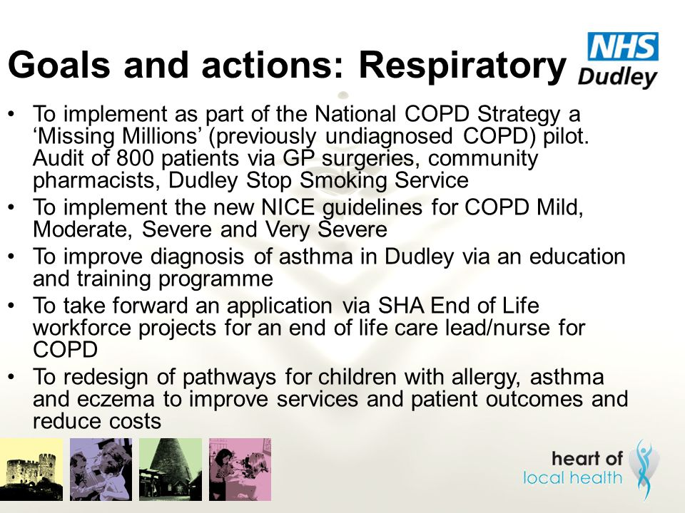 Goals and actions: Respiratory To implement as part of the National COPD Strategy a 'Missing Millions' (previously undiagnosed COPD) pilot. Audit of 8