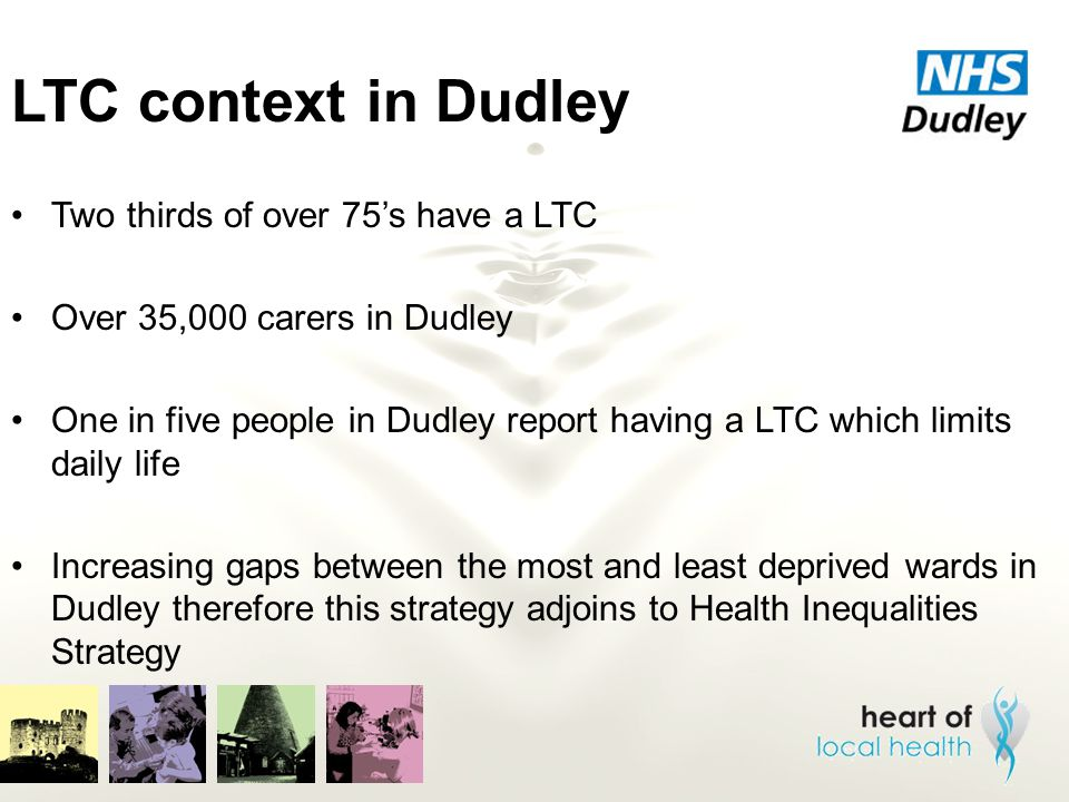 LTC context in Dudley Two thirds of over 75's have a LTC Over 35,000 carers in Dudley One in five people in Dudley report having a LTC which limits da