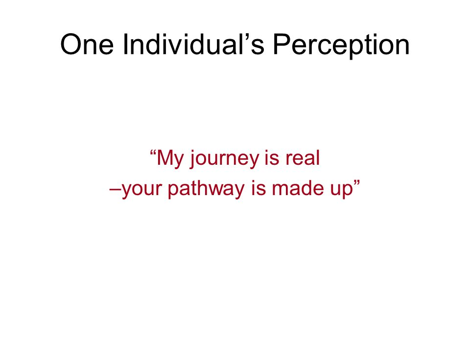 "One Individual's Perception ""My journey is real –your pathway is made up"""