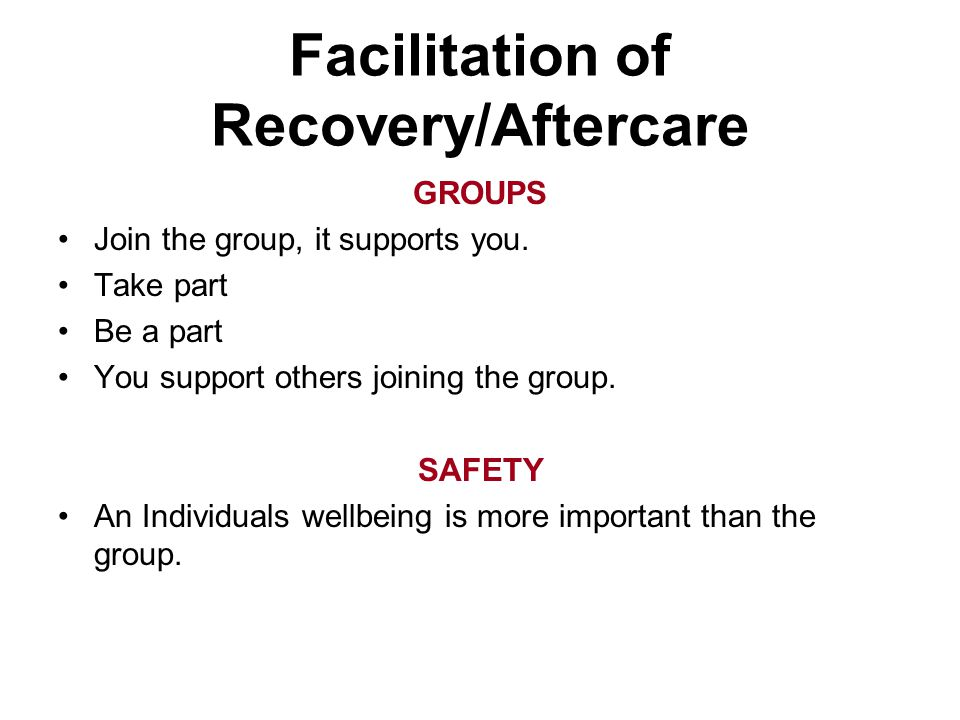 GROUPS Join the group, it supports you. Take part Be a part You support others joining the group. SAFETY An Individuals wellbeing is more important th