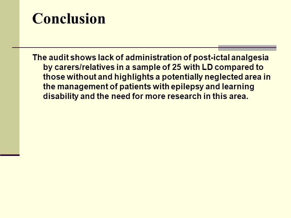 Conclusion The audit shows lack of administration of post-ictal analgesia by carers/relatives in a sample of 25 with LD compared to those without and highlights a potentially neglected area in the management of patients with epilepsy and learning disability and the need for more research in this area.