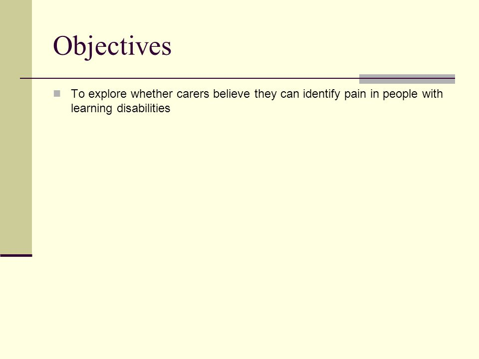 Objectives To explore whether carers believe they can identify pain in people with learning disabilities