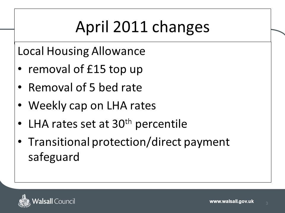 www.walsall.gov.uk 3 April 2011 changes Local Housing Allowance removal of £15 top up Removal of 5 bed rate Weekly cap on LHA rates LHA rates set at 30 th percentile Transitional protection/direct payment safeguard