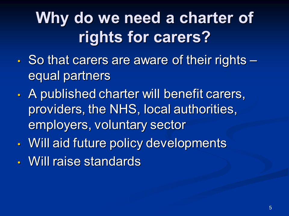 6 Progress to date Scottish Government's charter in draft form Scottish Government's charter in draft form Consultation taken place with carers on the draft Consultation taken place with carers on the draft Charter will document existing legal rights Charter will document existing legal rights  Carers in South Lanarkshire: - One step ahead.