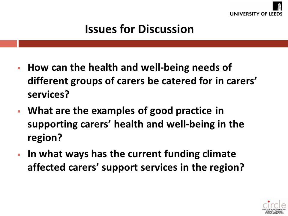  How can the health and well-being needs of different groups of carers be catered for in carers' services.
