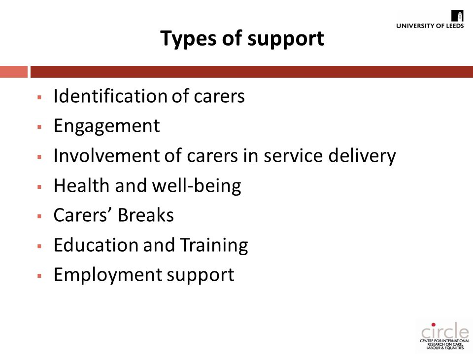 Types of support  Identification of carers  Engagement  Involvement of carers in service delivery  Health and well-being  Carers' Breaks  Education and Training  Employment support
