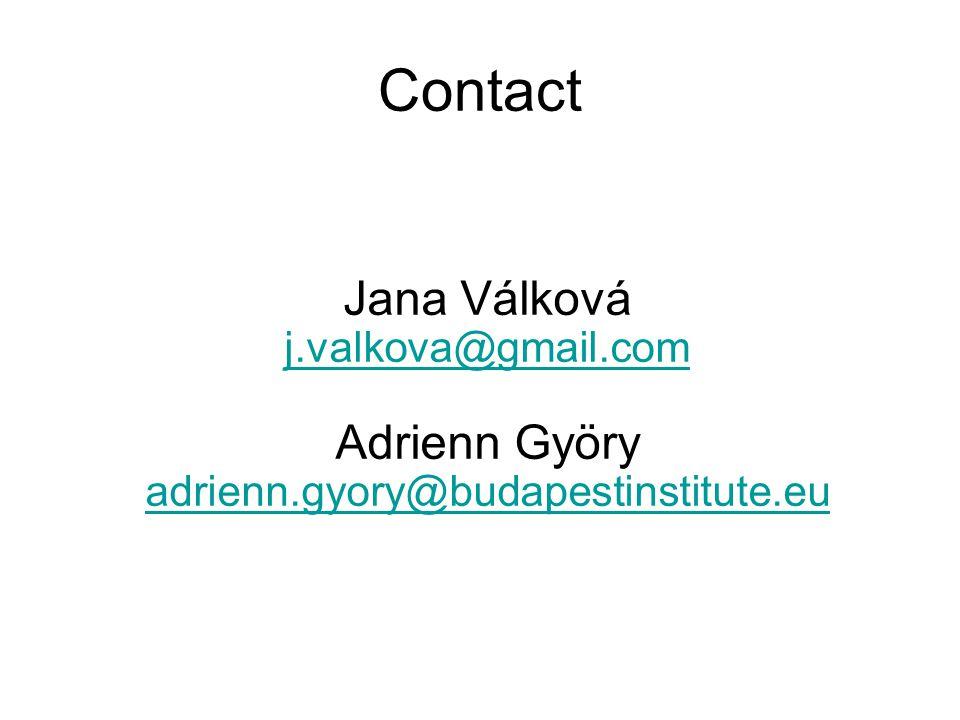 Jana Válková j.valkova@gmail.com Adrienn Györy adrienn.gyory@budapestinstitute.eu j.valkova@gmail.com adrienn.gyory@budapestinstitute.eu Contact