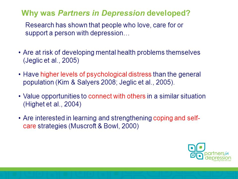 Why was Partners in Depression developed.
