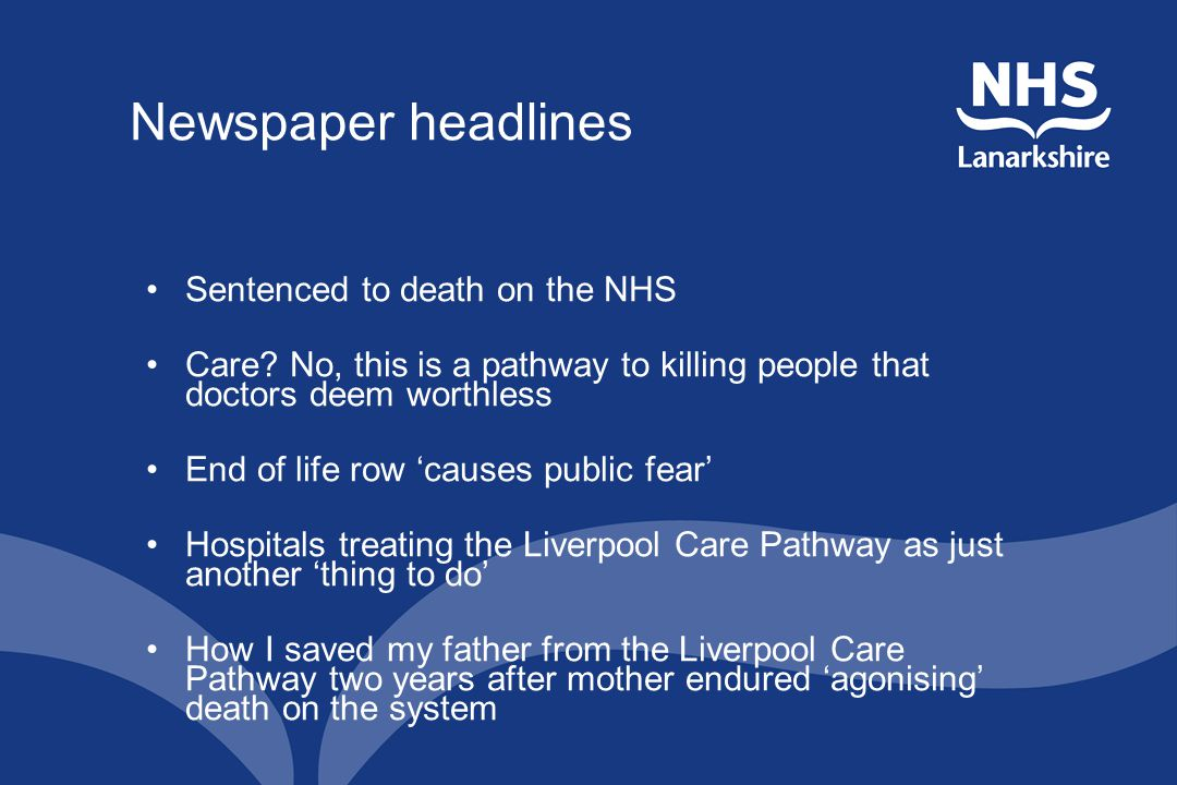 Newspaper headlines Sentenced to death on the NHS Care.