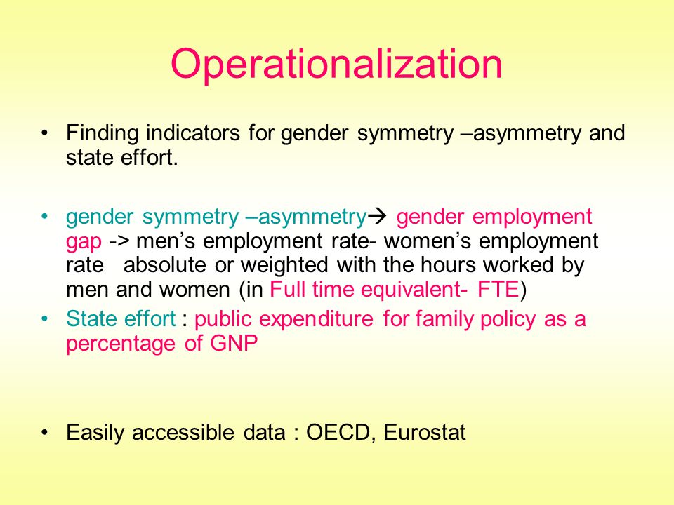 Operationalization Finding indicators for gender symmetry –asymmetry and state effort.