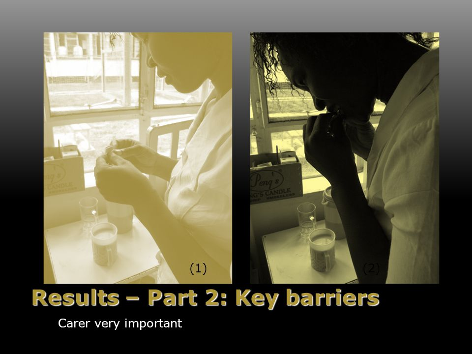 Results – Part 2: Key barriers Carer very important (1)(2)