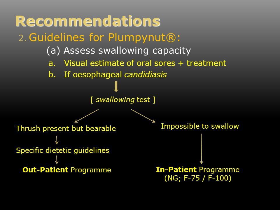 Recommendations a.Visual estimate of oral sores + treatment b.If oesophageal candidiasis 2.