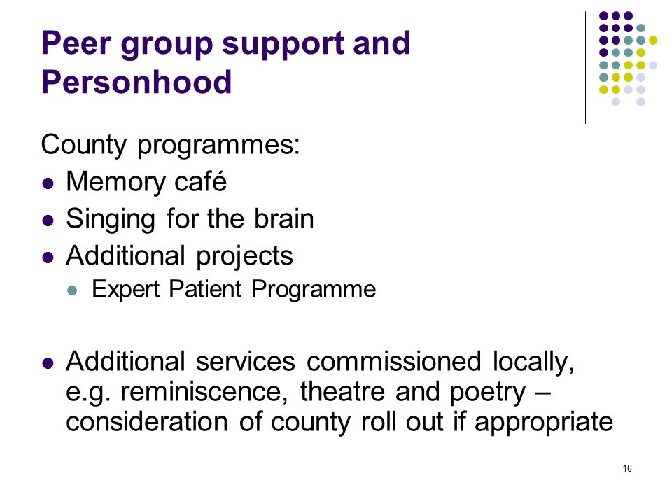 16 Peer group support and Personhood County programmes: Memory café Singing for the brain Additional projects Expert Patient Programme Additional services commissioned locally, e.g.