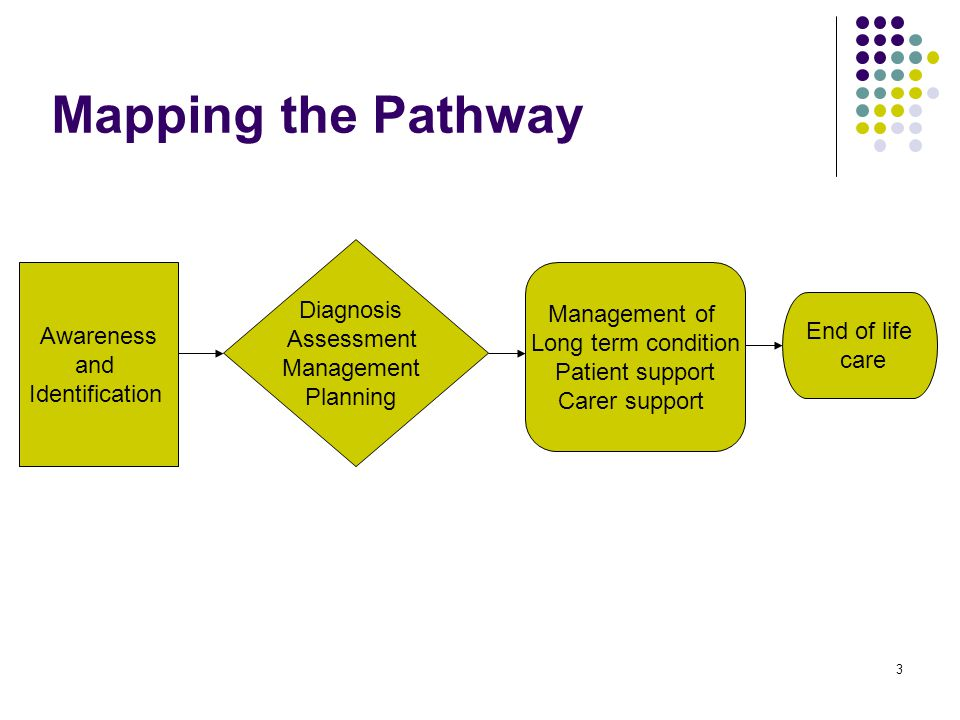 3 Awareness and Identification Diagnosis Assessment Management Planning Management of Long term condition Patient support Carer support Mapping the Pathway End of life care