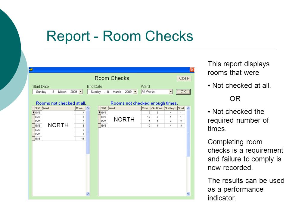 Report - Room Checks This report displays rooms that were Not checked at all.