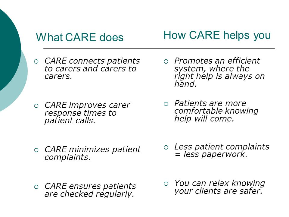 o By providing valuable and timely information about the efficiency of your carers and the demands of your patients.