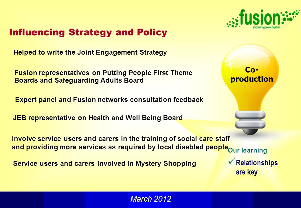 Our learning Relationships are key Influencing Strategy and Policy Co- production March 2012 Fusion representatives on Putting People First Theme Boards and Safeguarding Adults Board Service users and carers involved in Mystery Shopping Helped to write the Joint Engagement Strategy JEB representative on Health and Well Being Board Involve service users and carers in the training of social care staff and providing more services as required by local disabled people Expert panel and Fusion networks consultation feedback