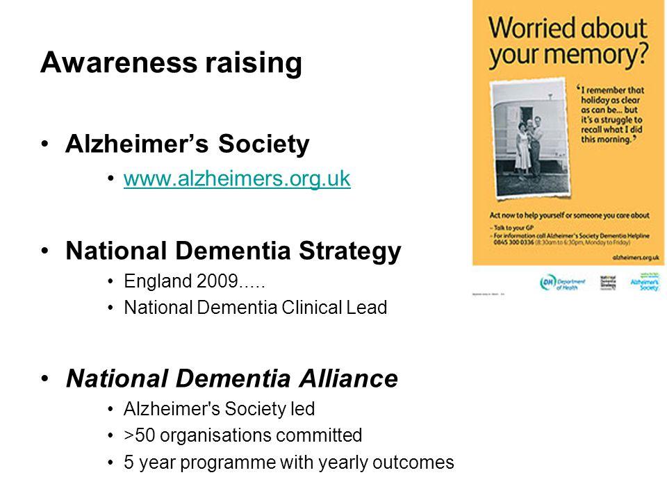 Awareness raising Alzheimer's Society www.alzheimers.org.uk National Dementia Strategy England 2009.....