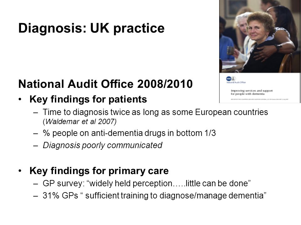 Diagnosis: UK practice National Audit Office 2008/2010 Key findings for patients –Time to diagnosis twice as long as some European countries (Waldemar et al 2007) –% people on anti-dementia drugs in bottom 1/3 –Diagnosis poorly communicated Key findings for primary care –GP survey: widely held perception…..little can be done –31% GPs sufficient training to diagnose/manage dementia
