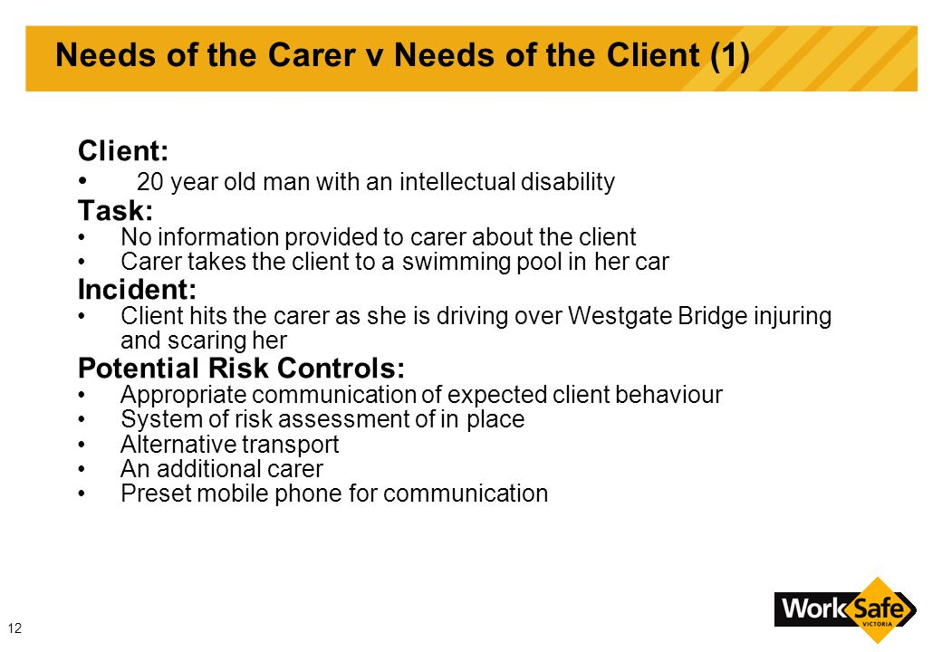 12 Needs of the Carer v Needs of the Client (1) Client: 20 year old man with an intellectual disability Task: No information provided to carer about the client Carer takes the client to a swimming pool in her car Incident: Client hits the carer as she is driving over Westgate Bridge injuring and scaring her Potential Risk Controls: Appropriate communication of expected client behaviour System of risk assessment of in place Alternative transport An additional carer Preset mobile phone for communication