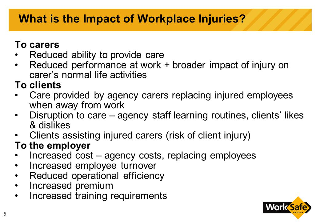 16 Management of OHS Risk v Provision of Services Client care and OHS management are not mutually exclusive Effective OHS management may improve services to clients by: Identifying if clients are at risk of injury (s 23 duty) Reducing staff turnover & increasing 'consistency of carers' Improving carer's satisfaction with work/industry (attracting more carers to the industry) Risks and Rights are a balancing act that can be redressed: Alternatives Consultation Negotiation