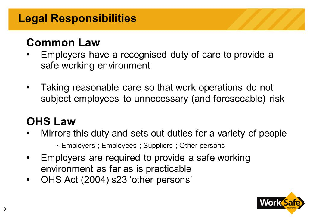 8 Legal Responsibilities Common Law Employers have a recognised duty of care to provide a safe working environment Taking reasonable care so that work operations do not subject employees to unnecessary (and foreseeable) risk OHS Law Mirrors this duty and sets out duties for a variety of people Employers ; Employees ; Suppliers ; Other persons Employers are required to provide a safe working environment as far as is practicable OHS Act (2004) s23 'other persons'