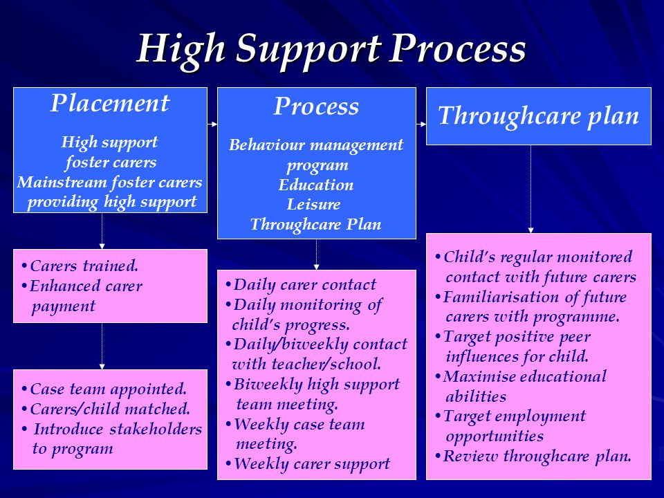 High Support Process Placement High support foster carers Mainstream foster carers providing high support Process Behaviour management program Education Leisure Throughcare Plan Throughcare plan Carers trained.