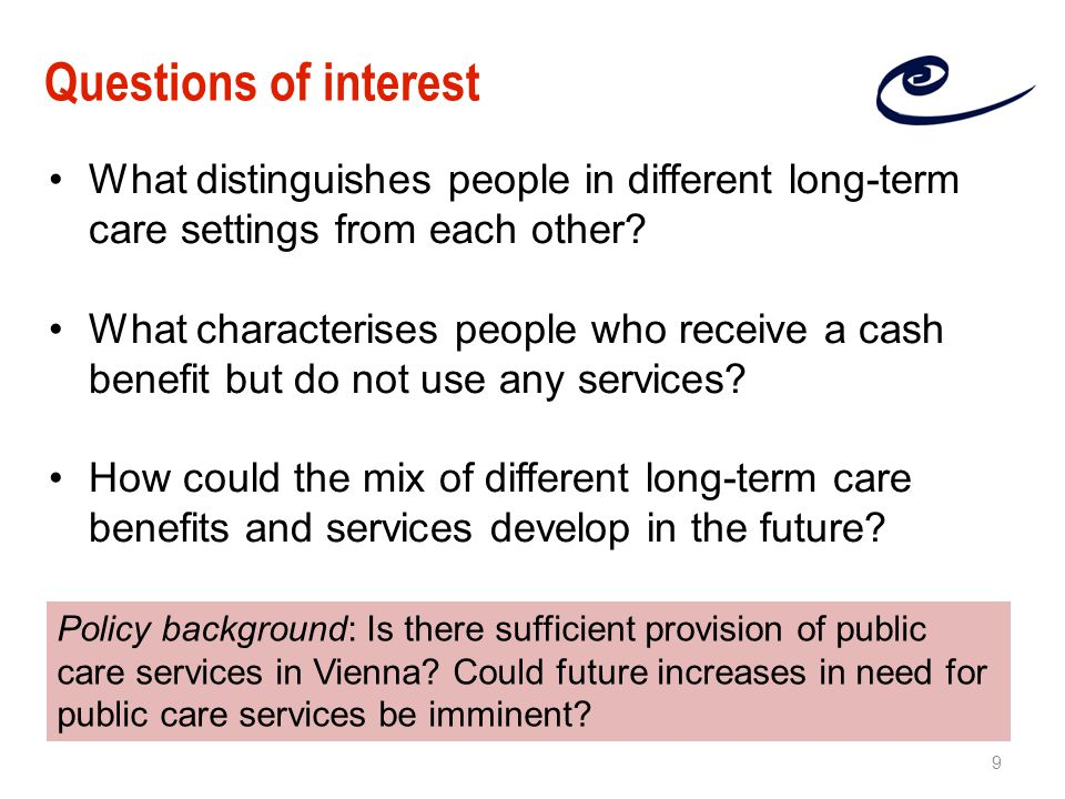 What distinguishes people in different long-term care settings from each other.