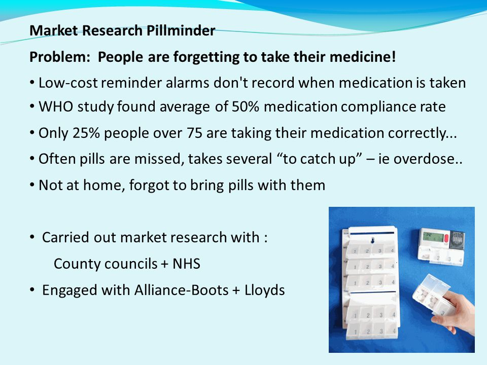 Market Research Pillminder Problem: People are forgetting to take their medicine.