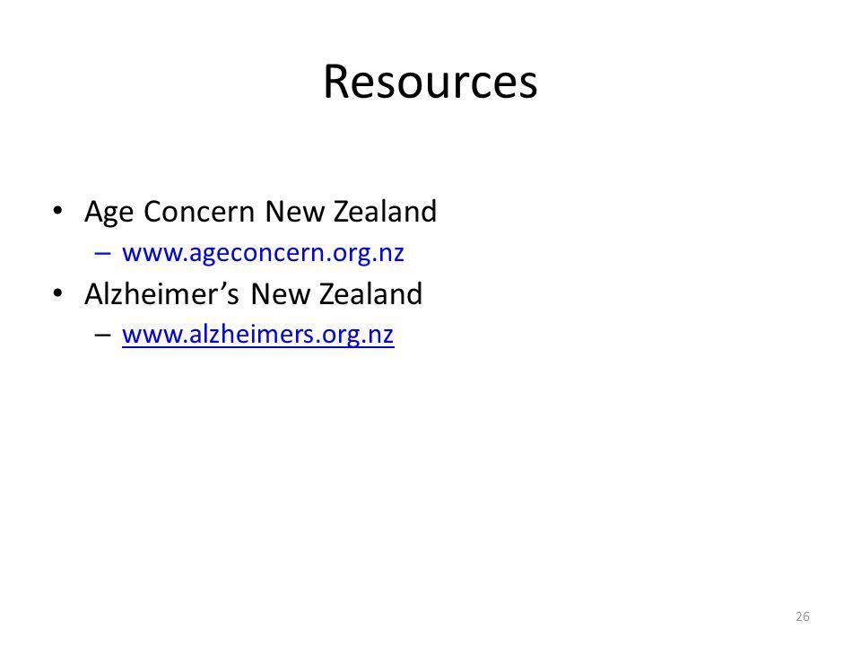 Age Concern New Zealand – www.ageconcern.org.nz Alzheimer's New Zealand – www.alzheimers.org.nz www.alzheimers.org.nz 26