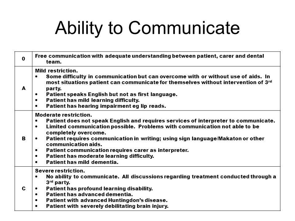 0 Free communication with adequate understanding between patient, carer and dental team. A Mild restriction.  Some difficulty in communication but ca