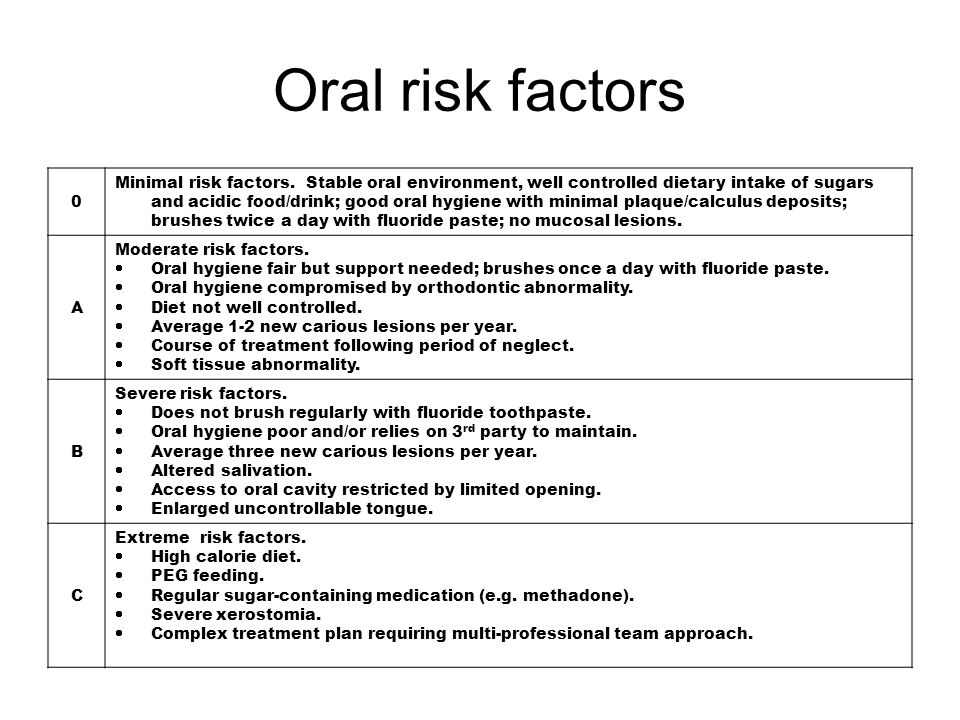 0 Minimal risk factors. Stable oral environment, well controlled dietary intake of sugars and acidic food/drink; good oral hygiene with minimal plaque